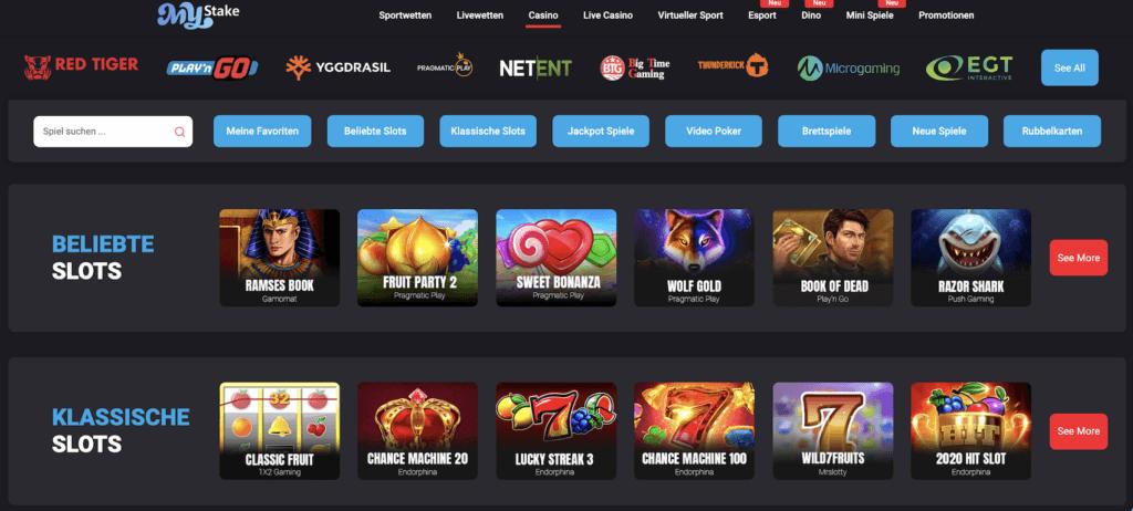 Die Spielauswahl beiMyStake Casino