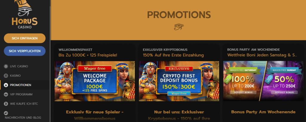 Horus Casino - Aktionen