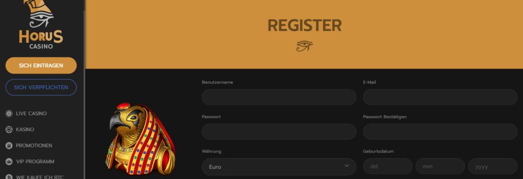 Horus Casino - Registrieren