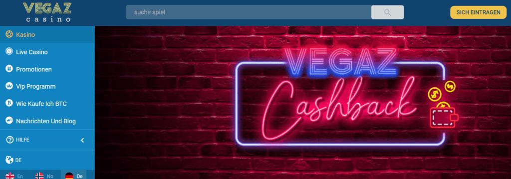 Vegaz Casino - Cashback Angebot