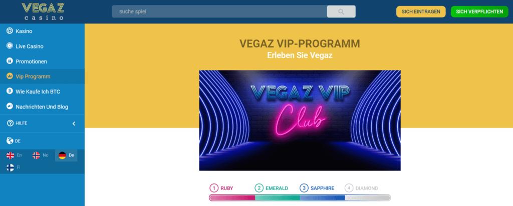 VIP Angebot im Vegaz Casino