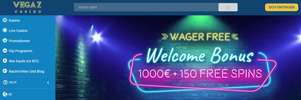 Vegaz Casino - Willkommensbonus