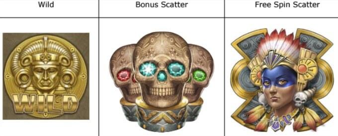 Aztek Warrior Princess Play N GO Slot Symbole