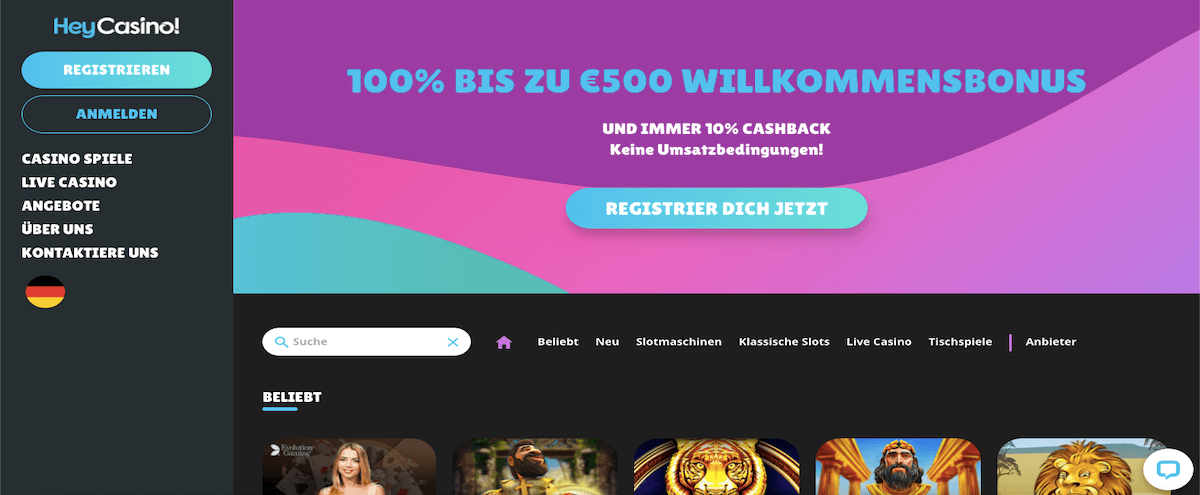 Die HeyCasino Homepage