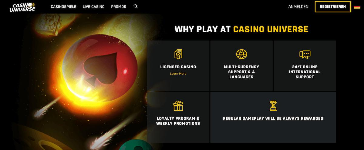Wieso bei Casino Universe spielen?