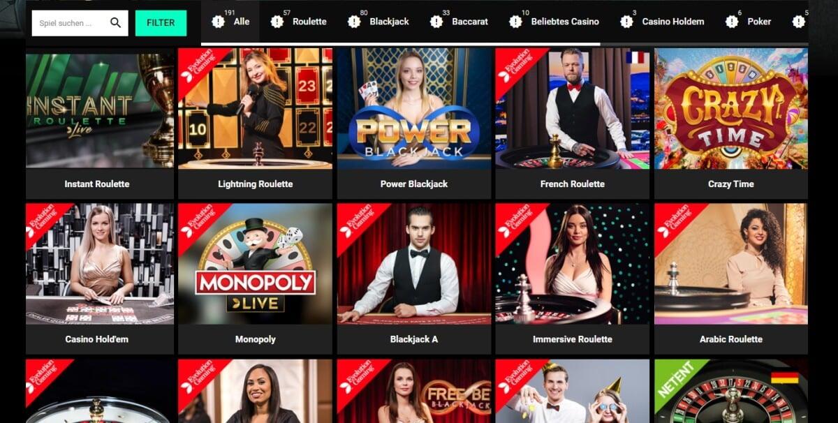 CBet Live Casino Auswahl