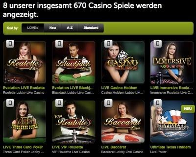 ComeOn Casino Spiele