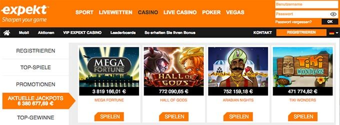 Expekt Casino Jackpots