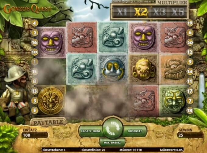 Gonzo's Quest NetEnt Slot Screen