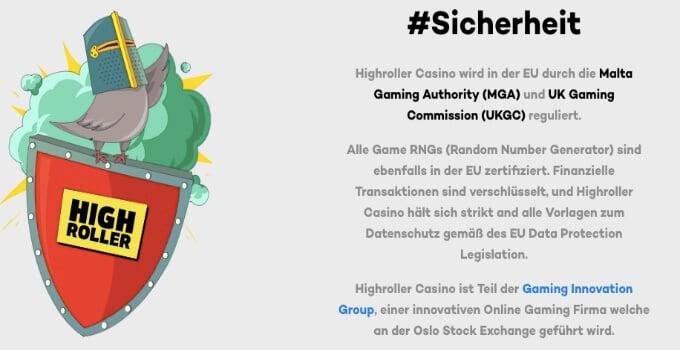 HighRoller Casino Sicherheit und Lizenz