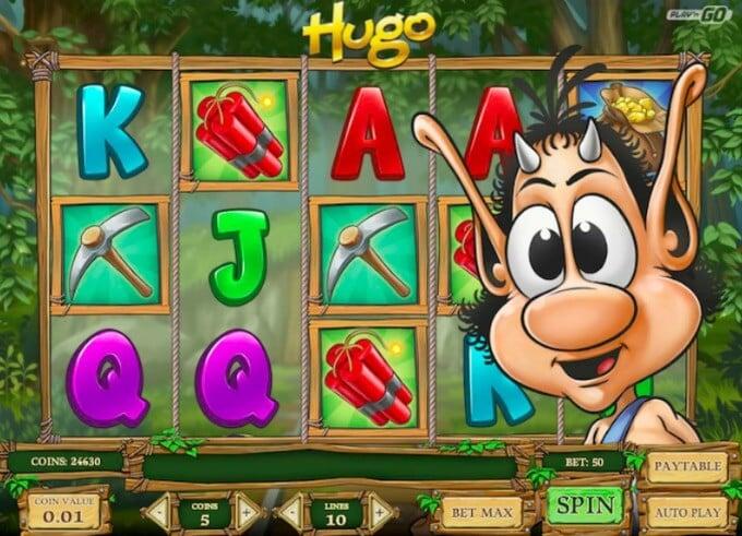 Hugo slot Play 'N GO main screen