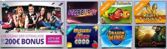Karamba Online Casino Bonus und Spiele