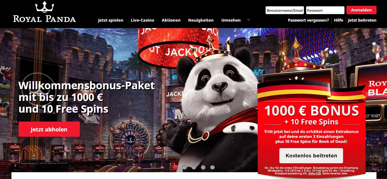Willkommensbonus-Paket Royal Panda