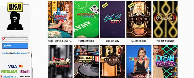 HighRoller Live Casino Spiele