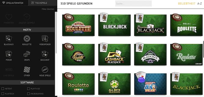 Slots Million Casino Tischspiele