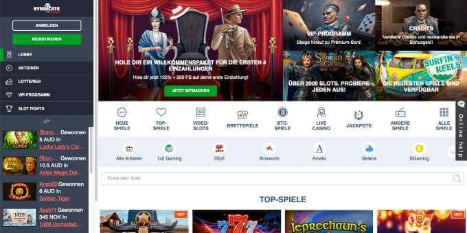 Syndicate Casino Startseite
