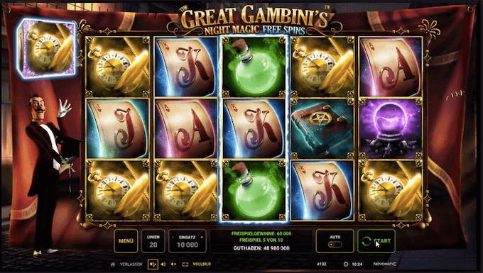 The Great Gambini's Night Magic Novomatic