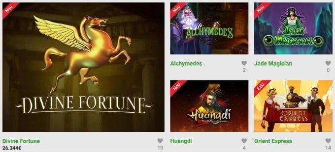 Unibet Online Casino Spielauswahl