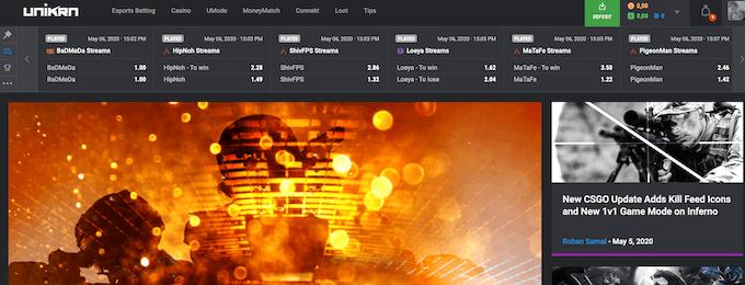 Unikrn Casino Esports Design